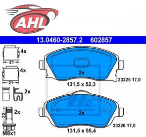 ATE 13.0460-2857.2 Plaquettes de frein avant VA Opel