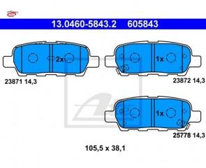 ATE 13.0460-5843.2 Jeu de 4 plaquettes de frein  NISSAN