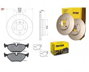 TEXTAR 92072403 + 2193402+ 98024000 disque de frein + plaquettes de frein BMW