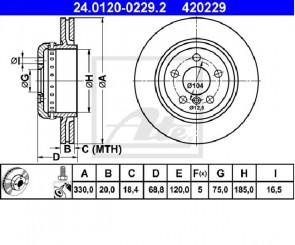 ATE 24.0120-0229.2 Jeu de 2 disques de frein BMW