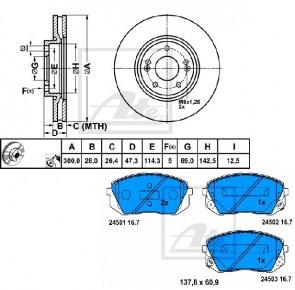 ATE 24.0128-0256.1 + 13.0460-5600.2 Jeu de 2 disques de frein + Jeu de 4 plaquettes de frein