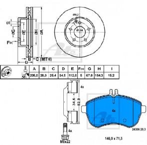 ATE 24.0128-0155.1 + 13.0460-2732.2 Jeu de 2 disques de frein + Jeu de 4 plaquettes de frein