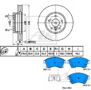 ATE 24.0126-0165.1 + 13.0460-7262.2 Jeu de 2 disques de frein + Jeu de 4 plaquettes de frein