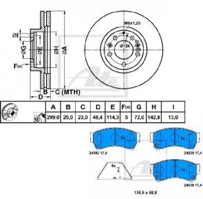 ATE 24.0125-0188.1 + 13.0460-5610.2 Jeu de 2 disques de frein + Jeu de 4 plaquettes de frein