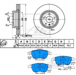 ATE 24.0125-0184.1 + 13.0460-7256.2 Jeu de 2 disques de frein + Jeu de 4 plaquettes de frein