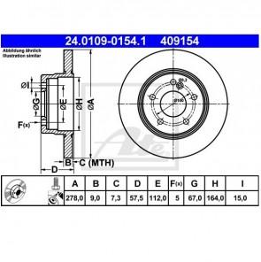 ATE 24.0109-0154.1 Jeu de 2 disques de frein pour MERCEDES-BENZ