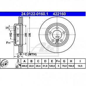 ATE 24.0122-0160.1 Jeu de 2 disques de frein pour BMW