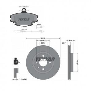 TEXTAR 92292103 + 2146304 Jeu de 2 disques de frein + Jeu de 4 plaquettes de frein pour RENAULT DACIA LADA NISSAN