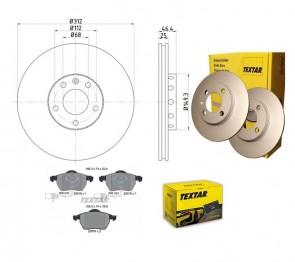 TEXTAR 92106105 + 2301802 Jeu de 2 disques de frein + Jeu de 4 plaquettes pour AUDI SEAT VW