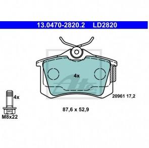 ATE 13.0470-2820.2 Jeu de 4 plaquettes de frein Ceramic pour CITROËN PEUGEOT AUDI SEAT
