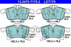 ATE 13.0470-7179.2 Jeu de 4 plaquettes de frein Céramique  pour OPEL CHEVROLET