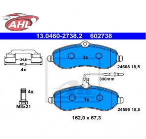 ATE 13.0460-2738.2 Plaquettes de frein Citroën Fiat Peugeot