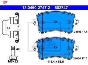 ATE 13.0460-2747.2 Jeu de 4 plaquettes de frein pour FIAT VAG