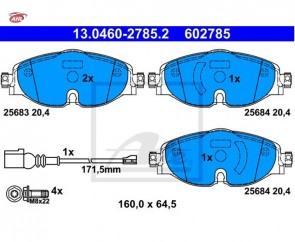 ATE 13.0460-2785.2 Plaquettes de frein Audi Seat Skoda VW