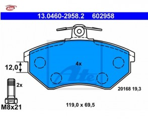 ATE 13.0460-2958.2 Plaquettes de frein Seat Ibiza II III VW Golf III Golf IV Passat