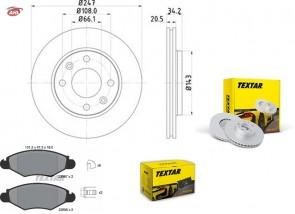 TEXTAR 92043103 + 2359703 disque de frein + plaquettes de frein CITROËN PEUGEOT