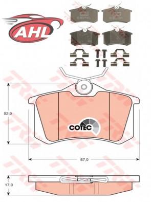TRW GDB1330 Kit de plaquettes de frein arriere Audi Citroen Peugeot Renault Ford