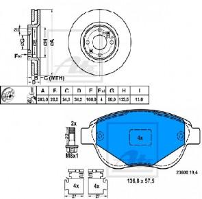 ATE 24.0126-0120.1+13.0460-3966.2 Jeu de 2 disques de frein +Jeu de 4 plaquettes de frein