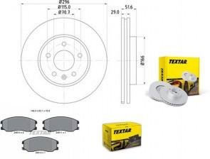 TEXTAR 92165405 + 2451001  Jeu de 2 disques de frein + plaquette pour OPEL