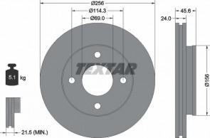 TEXTAR 92134803 Disque de frein x2 MITSUBISHI